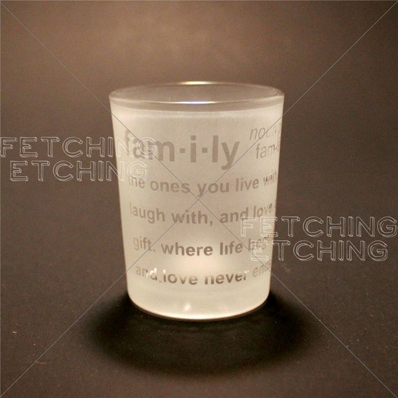 items similar to family definition etched glass votive
