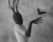 Intuition - Fine Art Surreal Mask Black White Bird Crow Strange Odd Portrait Glove Antlers Horns Woman Dream Conceptual Raven Photography