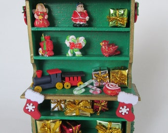 Toy Shop Christmas Cupboard Cabinet Miniature Dollhouse Furniture