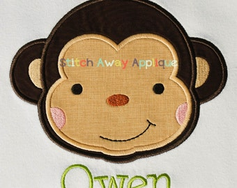 Sweet Monkey Face Machine Embroidery Applique Design
