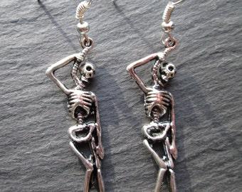 Hanging Skeleton Silver Earrings