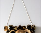 Hand Sewn Vintage Button Necklace, 'Golden Coin' (14kt Gold Chain)
