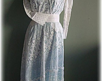 1910 Antique White Embroidered Lace Edwardian or Gibson Dress, wedding gown