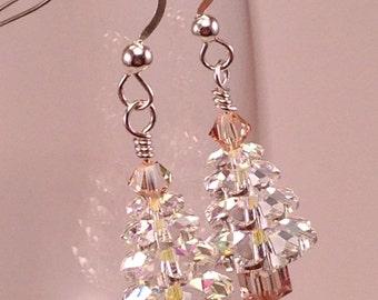 Swarovski Crystal and Sterling Silver Christmas Tree Earrings