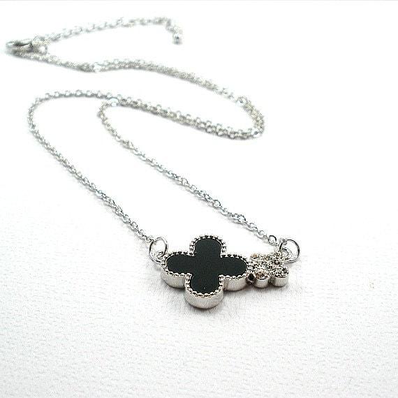 clover necklace black clover necklace trendy by tiffanyjdesign