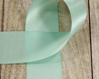 "1 Yrd. Mint Green Ribbon  -  1-1/2 inch Double Sided ""Mint"" Satin Ribbon / Sash / Hair Bow / Wedding / Crafting / DIY x 1 yard"