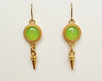 Green Earrings, Olive Green Disc Earrings with Gold Spike Charms, Lime Green Round Resin Earrings, Resin Jewelry, Hypoallergenic, For Her