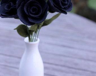 6 Black Felt Roses - Goth/Emo Style