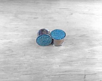"Light frosty blue glitter plugs 9/16"""