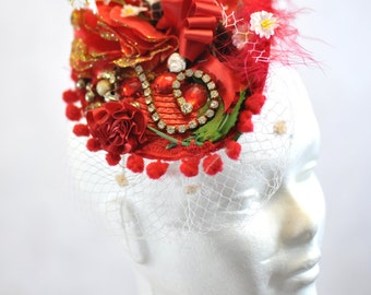 Ruby Red Fascinator with Diamante
