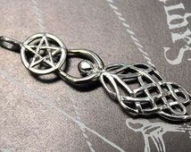 Celtic Goddess with Pentacle Sterling Silver Pendant - Celtic Knotwork and Goddess Combined to Form Beautiful Silver Pendant