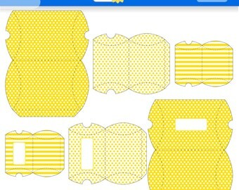 Yellow Polka Dots and Stripes Printable Gift Boxes for Instant Download. PDF. Favor Box. Pilow Box