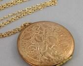 Vintage Bouquet,Rose Gold Locket,Rose Gold Necklace,Vintage Rose Gold Locket,Locket,Vintage Locket,Floral Locket,Rose Gold Necklace,Seamaide
