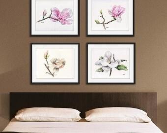 Magnolia print set of 4 - 5x7 Watercolor Paintings, Magnolia Watercolors, Print Set, Magnolia Print, Watercolor Flowers, Magnolia Painting