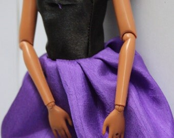 11.5 inch dolls clothes - purple/black dress (83)