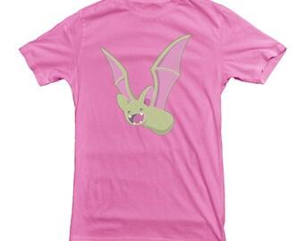 Bat T-shirt Vampire Halloween Glowing Green with Fangs