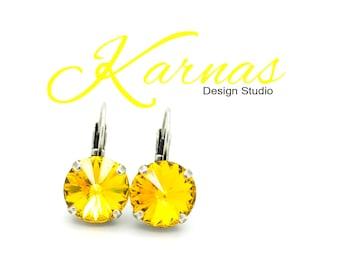SUNFLOWER 12MM Rivoli Drop Leverback Crystal Earrings Made With Swarovski Elements *Pick Your Metal *Karnas Design Studio *Free Shipping*