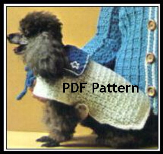 Dog Sweater Pet Coat Vintage 1970s Crochet Pattern