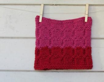 Winter Scarf  Ombre / raspberry pink stripes / luxury alpaca / Chunky winter accessory  / teen girl woman