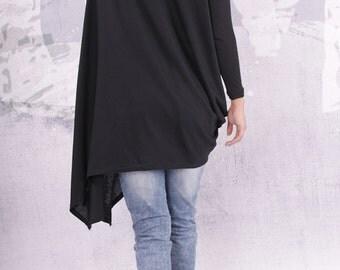 Loose Tunic, Plus size top, Oversize black tunic, Asymmetric tunic, Long sleeves tunic, Long tunic, Wide Tunic, Urbanmood - UM-F003-FL