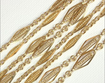 """Antique French 44"""" Long Guard Chain, 18k Gold c. 1890"""