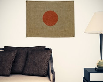Japan Burlap Flag