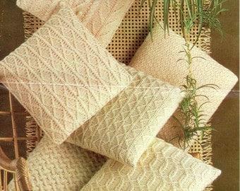 Six Aran Cushions PDF Vintage Knitting Pattern No. 6709.