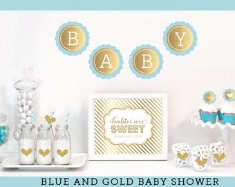 Baby Boy Shower Decorations - Boy Baby Shower Ideas - Blue Boy Baby Shower Centerpiece Sign, Cupcake Toppers KIT  (EB4011BS)