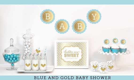 Items similar to baby boy shower decorations boy baby for Baby shower decoration kits boy