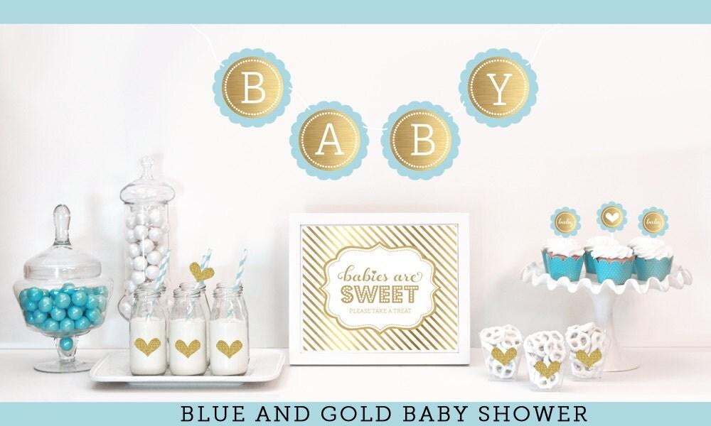 Blue And Gold Baby Shower Decor   Boy Baby Shower Ideas   Gold Glitter Baby  Shower