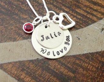 Daughter Necklace We Love You Necklace Handstamped Necklace Personalized Jewelry Handstamped Jewelry Birthstone Necklace Gift for Daughter