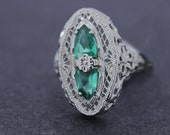 14K Gold Ring with Imitation Green Stones (Glass) with Filigree