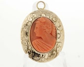 14K Gold Coral Cameo Convertible Brooch/Pendant