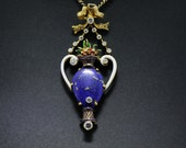 14K and 18K Gold Lapis Lazuli Pendant with Enamel Vase