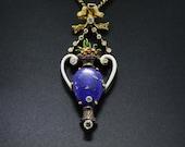 14K and 18K Gold Lapis Lazuli Pendant with Enamel Vase