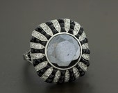18K White Gold Ring with Large Black Diamond and white diamonds pave and onyx