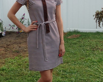 1970's brown and white striped shift dress with matching belt!