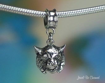 Sterling Silver Bobcat Charm or European Style Charm Bracelet .925