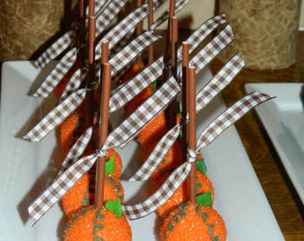 12 Thanksgiving Dinner Pumpkin Cake Pops Sweets Table Party Favors