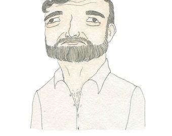 Ernest Hemingway -  Literary Portrait Print