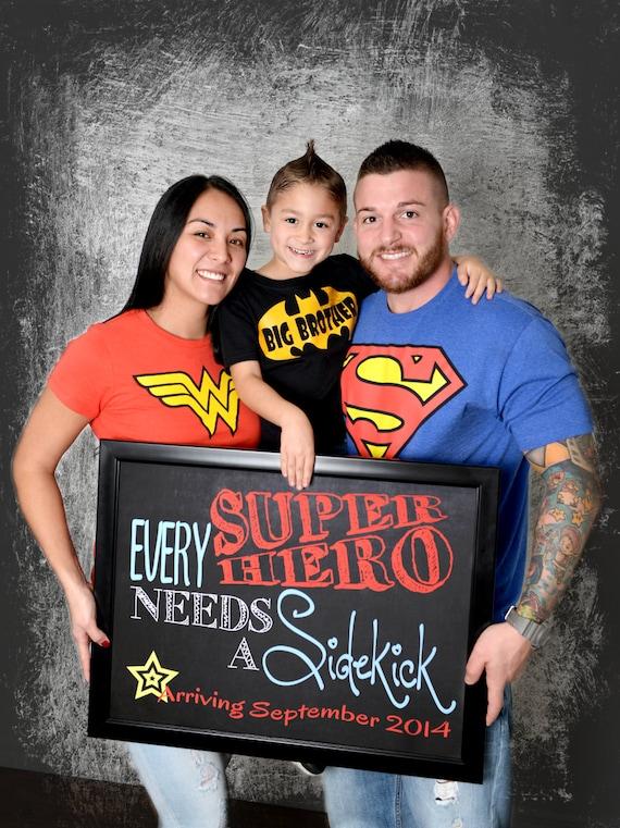 Every Superhero Needs a Sidekick Pregnancy Announcement Chalkboard Photo Prop | Baby #2 | Size: 11x14 | *Digital File* | by MMasonDesigns