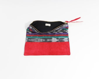 """Vintage Ikat & Repurposed Red Suede 10""""  Zipper Pouch Clutch"""