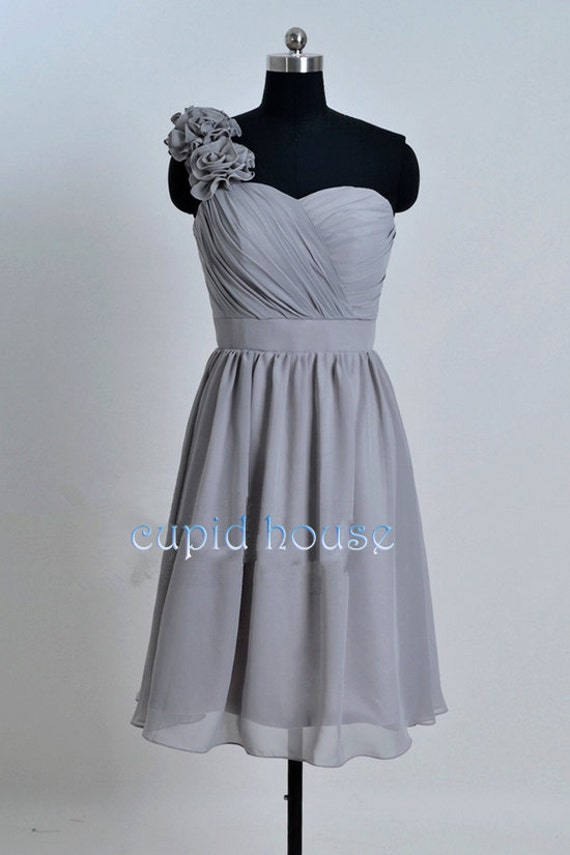 Cheap One-shoulder Short Chiffon Mint Coral Grey Blush Pink Purple Navy Blue Bridesmaid Dress Wedding Party Dress 2014