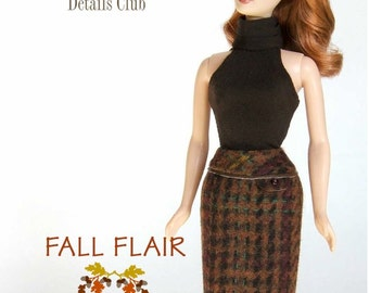 "Sewing pattern for 11 1/2"" doll (Barbie): Tweed Skirt"