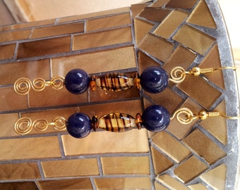Hand Made Ear Rings. Reclaimed Beads and Hand Twisted Brass Wire