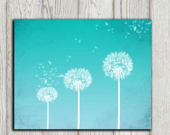 Dandelion art print Turquoise Dandelion Wall art Home decor print Bedroom wall decor Poster Abstract flower Office decor INSTANT DOWNLOAD