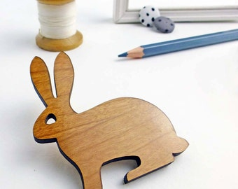 Rabbit brooch | Wooden Brooch | Rabbit jewellery | Woodland animal accessories  | Lazer cut wood jewellery | Hopping hare