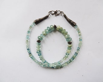 Aquamarine  Beaded Necklace  with  Silver Beads and Clasp