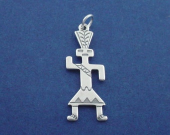 NATIVE AMERICAN Charm .925 Sterling Silver INDIAN Pendant - sc011