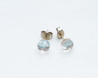 Small Sparkly Silver Glass Ear Studs